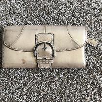 Coach Metallic Gold Tri-Fold Full Size Wallet Leather Sparkle Photo