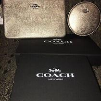 Coach Metallic Gold Wristlet / Coin Purse Set Nwt Beautiful Photo