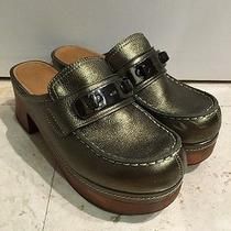 Coach Metallic Green/silver Color Adrienne Clogs Photo