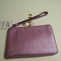 Coach Metallic Lilac Small Corner Zip Wristlet Nwt Photo