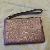 Coach Metallic Pink/light Purple Leather Corner Zip Wristlet Wallet Photo