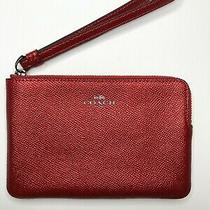 Coach Metallic Red Pebble Corner Zip Wristlet New Logo Wallet Photo