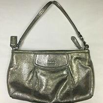 Coach Metallic Silver Pewter Leather Zippered Clutch Purse Handbag Wristlet Photo