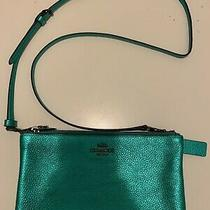 Coach Metallic Teal/green Crossbody Bag/purse. New Without Tags. Never Worn. Photo