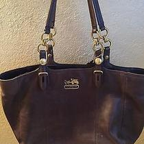 Coach Mia East/west Brown Mahogany Leather Handbag Tote Purse With Chain Photo
