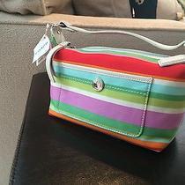 Coach Microfiber Small Purse - Bright Stripes- Baguette Photo
