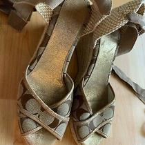 Coach Mila Ankle Tie Espadrille Wedges Sandals Tan Brown Lace Up Womens 8  Euc Photo