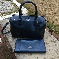 Coach Mini Bennett Satchel Crossgrain Leather Handbag and Wallet Midnight Blue Photo