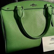 Coach Mini Bennett Satchel Crossgrain Leather in Pistachio Green Euc Photo