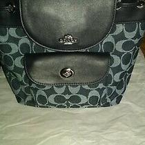 Coach Mini Billie Backpack. Signature Denim/leather Euc.  Photo