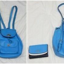 Coach Mini Charlie Turnlock Backpack & Wallet Set Blue Pebble Leather Ruksack Photo