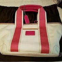 Coach Mini Hampton Weekend Tote (Pink and White) Photo