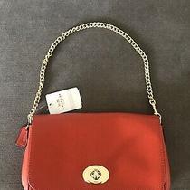 Coach Mini Ruby Red Crossgrain Leather Crossbody Turnlock Bag F34604 Photo