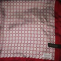 Coach Mini Signature Red & White Silk Scarf Nwot Retro Vintage Photo
