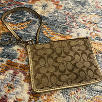 Coach Mini Skinny Id Card Holder Key Ring Coin Purse in Classic Canvas W/gold Photo