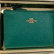 Coach Mini Skinny Id Case Wallet Key Chain Leather Bright Jade With Gift Box Photo