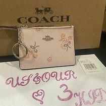 Coach Mini Skinny Id Case With Floral Bow Print in Ice Pink Floral F29872 Nwt Photo