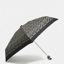 Coach Mini Umbrella Signature Mini Grey Black Silver Leather Strap New W/ Tags Photo
