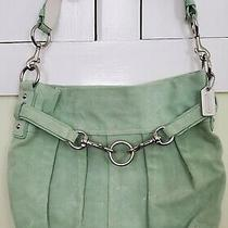Coach Mint Green Suede Unstructured Purse With Silver Hardware Handbag Photo