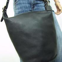 Coach Mint Xl Lrg Vintage Black Leather Duffle Sac Feed Bucket Hobo 17998 Photo