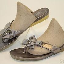 Coach Mismatch 6 / 6.5 Womens New Sparkle Pewter Leather Sandals Flats Shoes Wz Photo