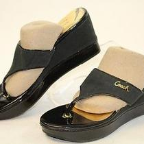 Coach Mismatch 7 / 7.5 Womens New Felicia Black Sandals Wedges Shoes Qn Photo