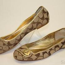 Coach Mismatch 7 / 7.5 Womens New Noel Gold Signature Logo Ballet Flats Shoes Xr Photo