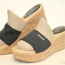 Coach Mismatch 8.5 8 Womens New Joanne Signature Platform Wedge Sandals Shoes Ff Photo
