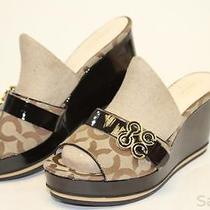 Coach Mismatch 9 / 9.5 Womens New Geri Brown Signature Wedges Heels Shoes Cv Photo