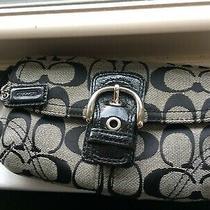 Coach Monogram Buckled Leather Flap Zipper Signature Wallet Wristlet Bag Photo