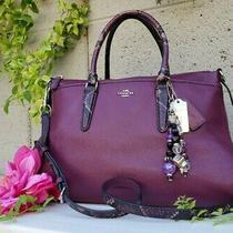 Coach Morgan Plum Purple Satchel Handbag Exotic Trim Handbag Purse Tote F35887 Photo