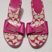 Coach Mules Sandals Kitten Heels Size 9 Jellies Pink White Photo