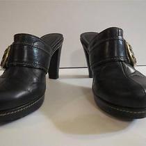 Coach Mules Slides Heels Clogs Size 7.5 Leather Logo Black Platform Candace Photo