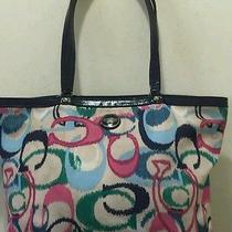 Coach Multi-Color Ikat Print Logo Tote F24450 h9.5 L14 D4 Price Marked Down Photo