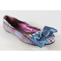 Coach Multi Color Plaid Bow Embellished Ballet Flats Sz 6 Photo
