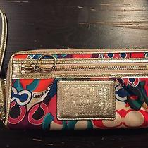 Coach Multi-Color Poppy Zip Around Wallet Fits Iphone 6 Photo