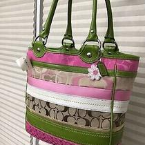 Coach Multi-Color Sig Large Tote  Bagpurse Nwt  G.rcpt 398  Free Gift Photo