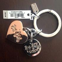 Coach Multi Heart Charm Key Ring/fob Rosegold/ Slv Plated Brass Horse & carr.nwt Photo