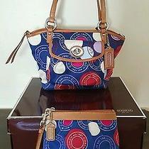 Coach Multicolor Gorgeous Red/whte/blue Handbag Pop Art Pnt W Matching Wristlet Photo
