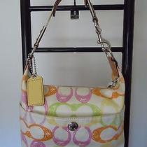 Coach Multicolor Pastel Scribble Print Cotton & Leather Hobo Bag  F11672 Photo
