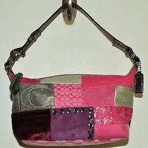 Coach Multicolor Patchwork Handbag Pink Purple Wine Barrel Style Photo