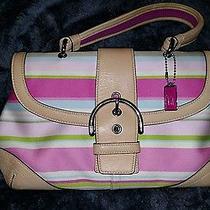 Coach Multicolor Stripe Print Cotten and Leather Handbag Photo