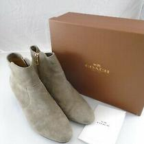 Coach Mystic Suede A8740 Lt Feathered Gray 8 M Women's Ankle Wedge Boots Booties Photo