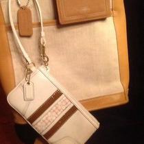 Coach Natural Linen Leather Trim Tote Purse Rare Euc  Wallet & Wristlet 3pc Set Photo