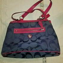 Coach Navy Blue and Pink Travel Bag Purse Photo
