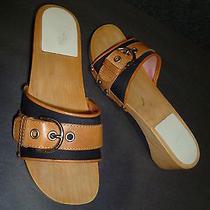Coach Navy Blue Canvas / Leather / Wood Slide Sandals Sz 6.5  Photo