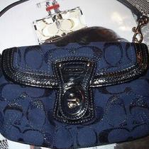 Coach Navy Blue Signature Lurex Wallet Wristlet 4 Handbag Vhtf Photo