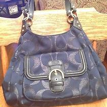 Coach Navy Campbell Signature Metallic Bag Hobo Purse F26245 Msrp  378 - Rare Photo