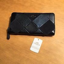 Coach Navy Leather and Suede Continental Wallet Nwt Photo