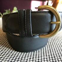 Coach Navy Leather Mens Brass Buckle Belt Size 30 Made in Usa Photo